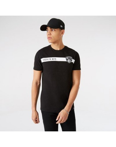 Camiseta Brooklyn Nets Team Logo Stripe, Negro