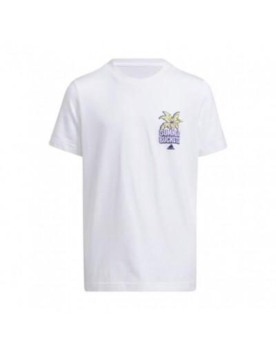 Camiseta Summer Hoops Adidas Infantil, Blanco